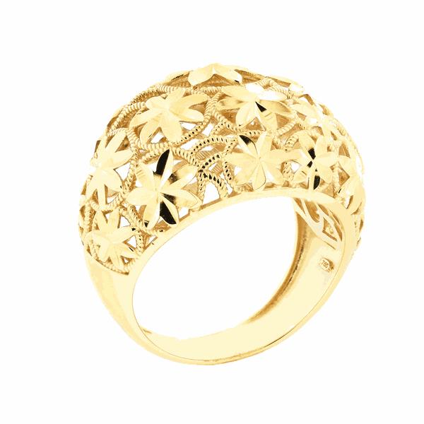 Anel Largo Detalhe Flores Forrado em Ouro 18K