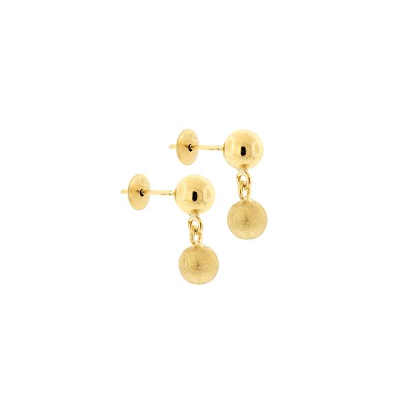 Brinco de Ouro Infantil 2 Bolas Penduradas 5mm