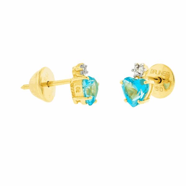 Brinco de Ouro 18K Pedra de Topázio Azul em Coração