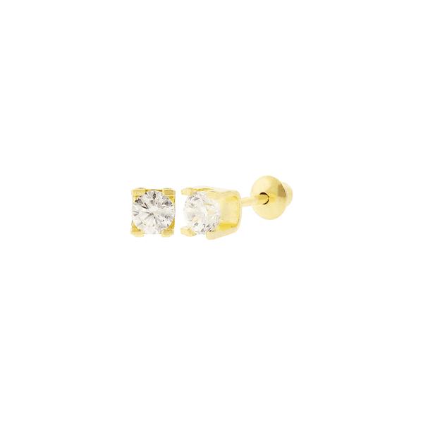Brinco Ouro 18K Cartier de Zircônia 3mm