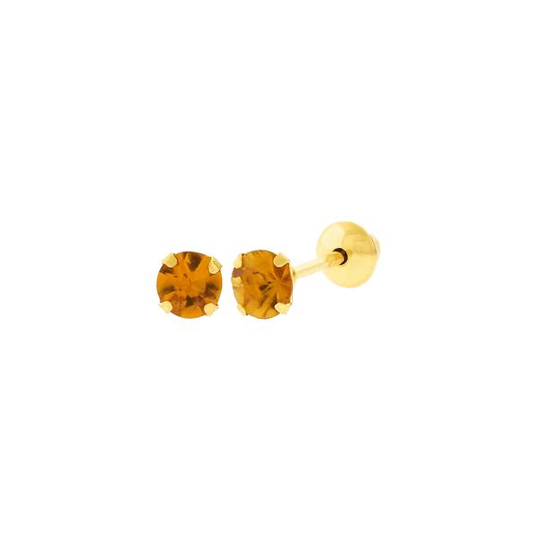 Brinco de Ouro 18K Pedra Citrino 3mm
