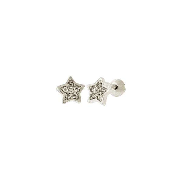 Brinco Infantil de Ouro Branco 18K Estrela Pequeno com Zircônias