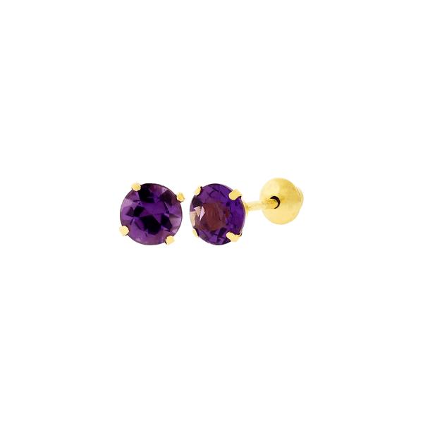 Brinco de Ouro 18K Pedra Ametista 4mm