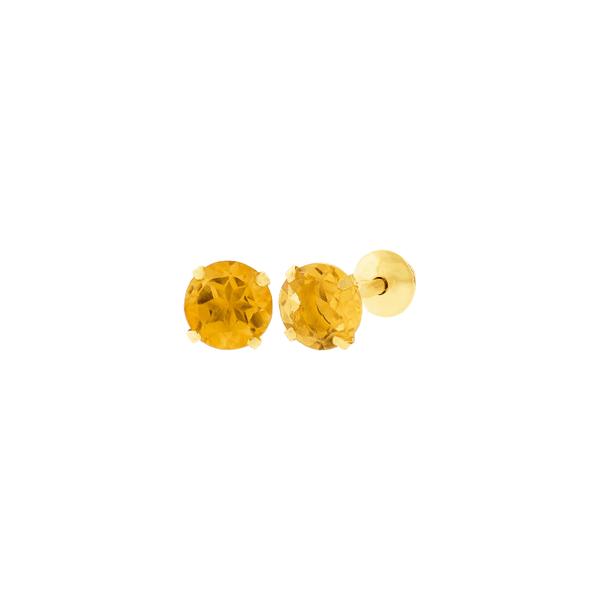 Brinco de Ouro 18K Pedra Citrino 4mm