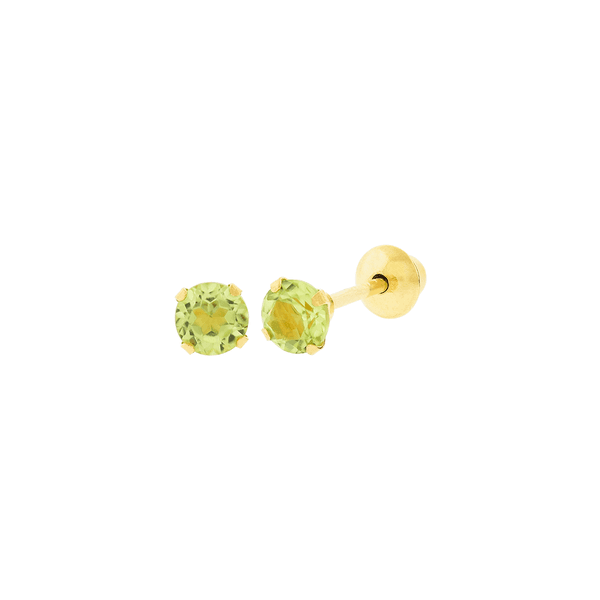 Brinco de Ouro 18K Pedra Peridoto 3mm