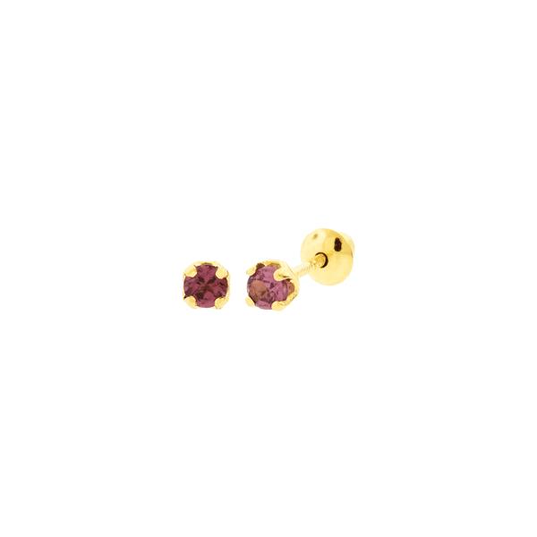 Brinco Infantil de Ouro 18K Pedra Rodolita 2,2mm