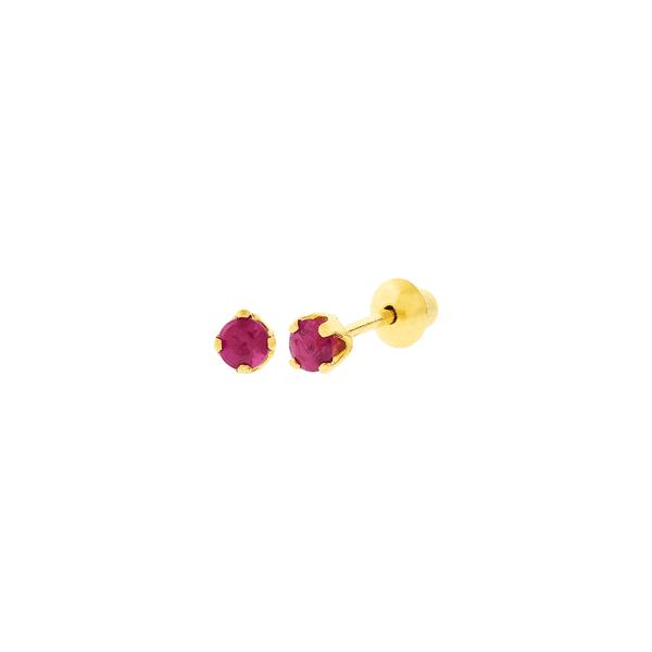 Brinco Infantil de Ouro 18K Pedra Rubi 2,2mm