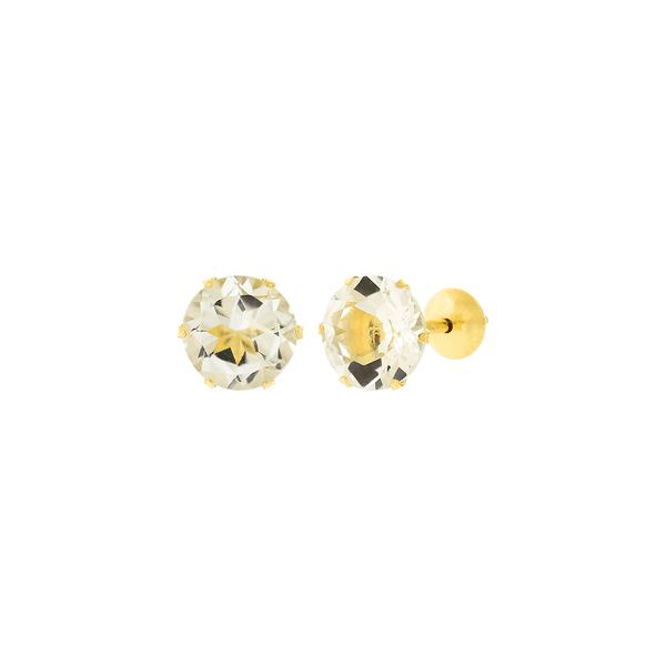 Brinco de Ouro 18K Pedra Topázio 6mm