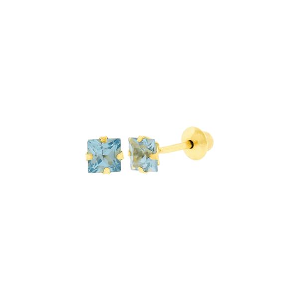 Brinco de Ouro 18K Zircônia Azul Carre 3mm