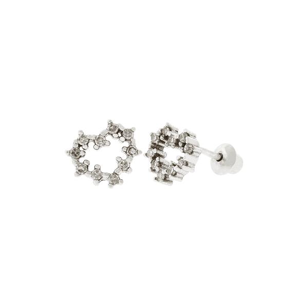 Brinco Coração Mini em Ouro Branco 18K com Diamantes