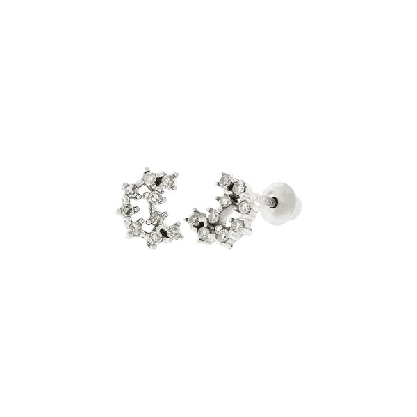 Brinco Meia Lua Mini Ouro Branco 18K com Diamantes