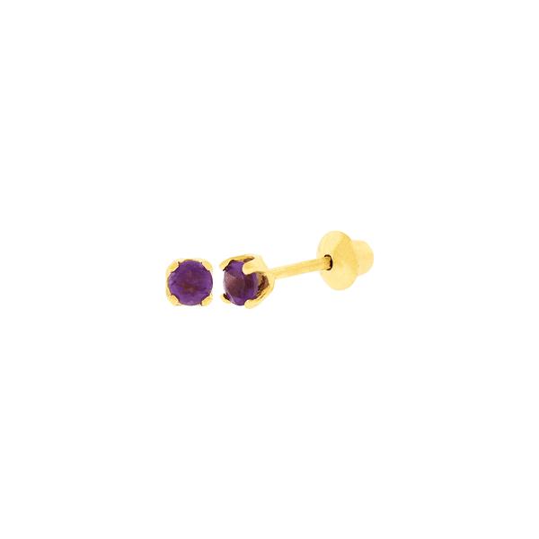 Brinco Infantil de Ouro 18K Pedra Ametista 2,2mm
