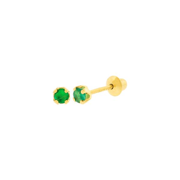Brinco Infantil de Ouro 18K Pedra Esmeralda 2,2mm