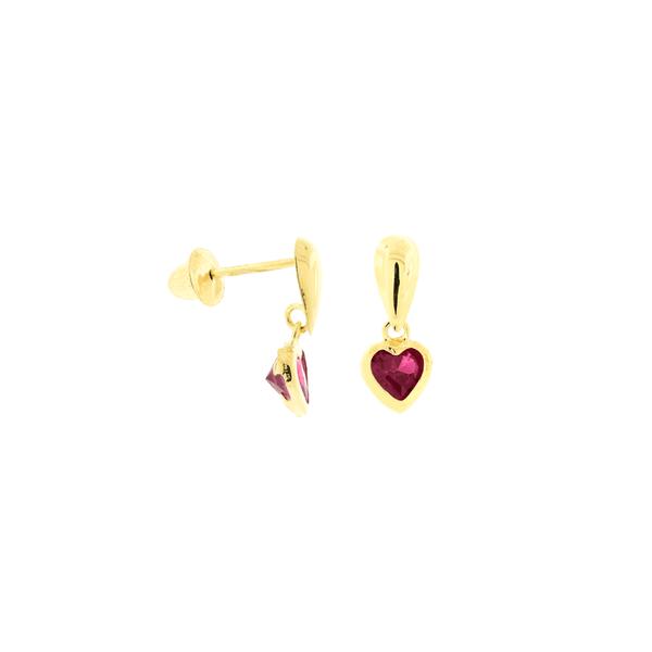Brinco de Ouro 18K Infantil Coração Pendente Zirconia Vermelha
