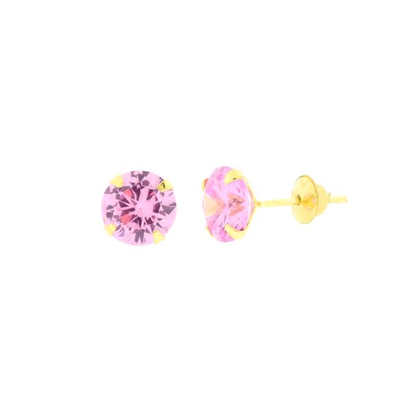 Brinco de Ouro 18K Zirconia Rosa 6mm