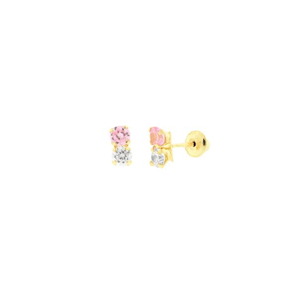 Brinco de Ouro 18K Infantil Zirconias Duplas Branca e Rosa