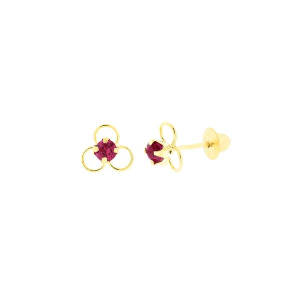 Brinco Infantil Flor com Zirconia Vermelha em Ouro 18K
