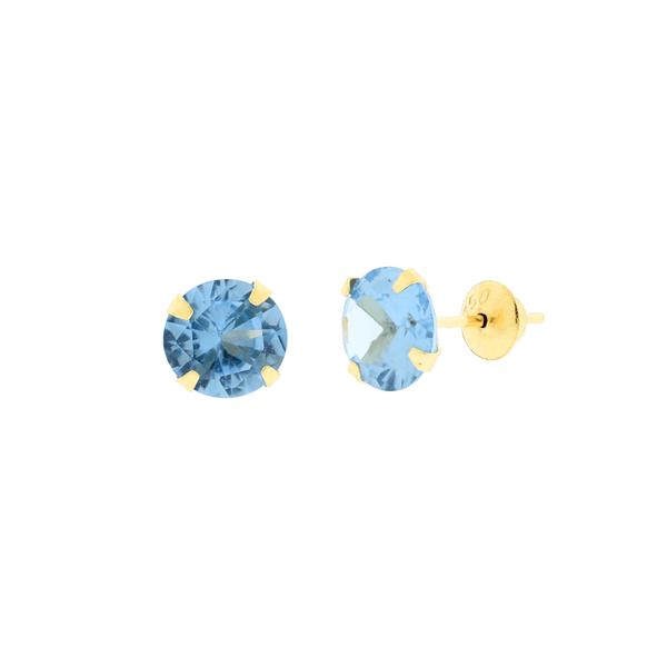 Brinco de Ouro 18K Zirconia Azul 6mm