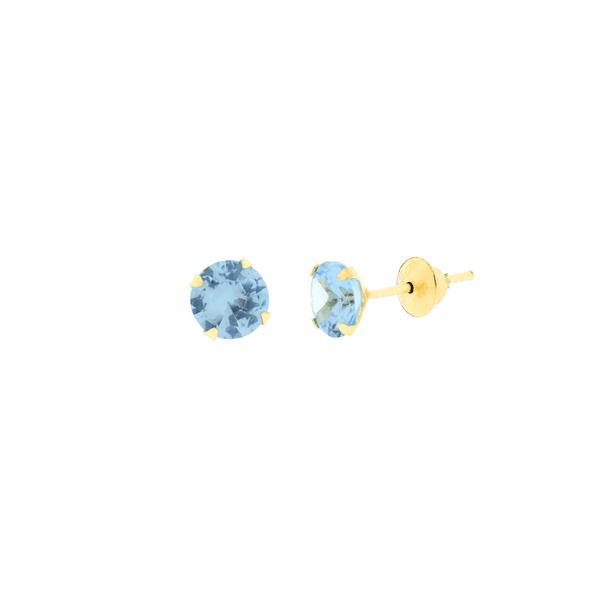 Brinco de Ouro 18K Zirconia Azul 5mm