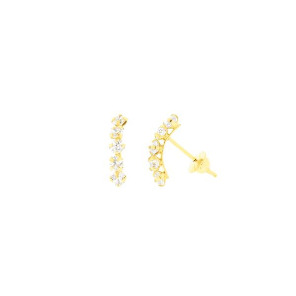 Brinco de Ouro 18K Meia Argola com Zirconias