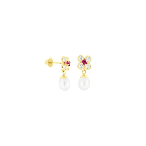 Brinco de Ouro 18K Infantil Flor de Zirconias e Pérola