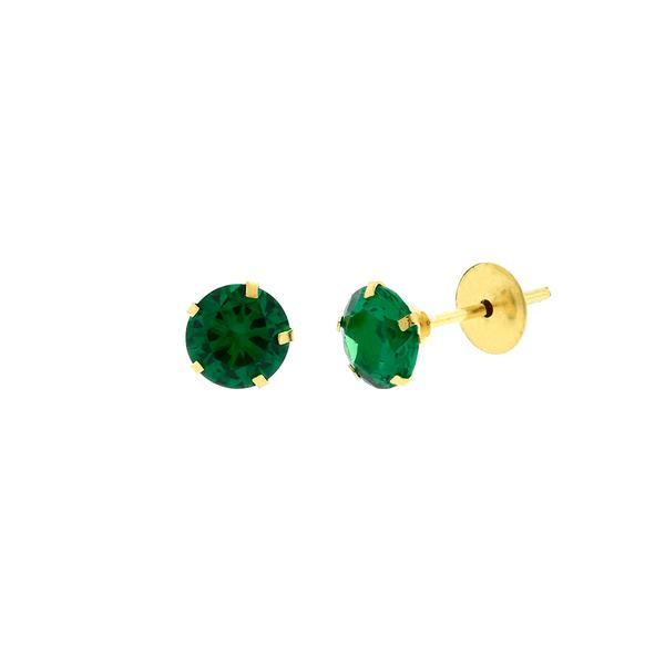 Brinco de Ouro 18K Pedra de Zircônia Verde 5mm
