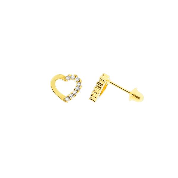 Brinco Infantil Coração com 16 Brilhantes Ouro 18K