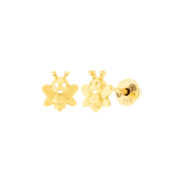 Brinco Infantil Abelhinha Feliz Ouro 18K