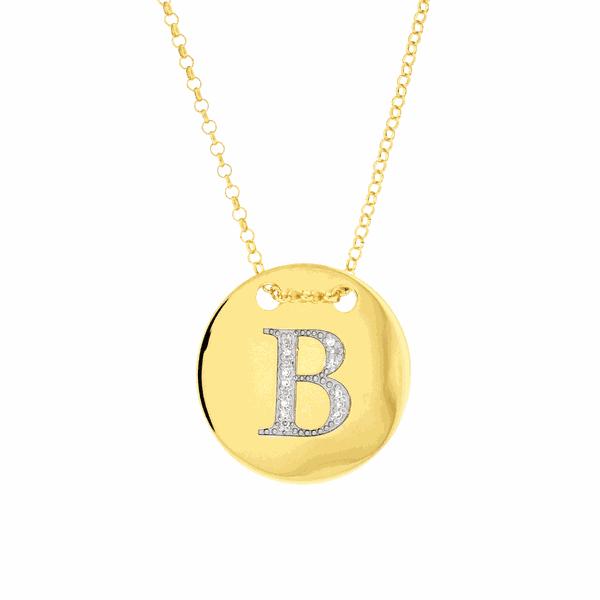 Colar com Letra B em Ouro 18K com Pedras de Brilhante