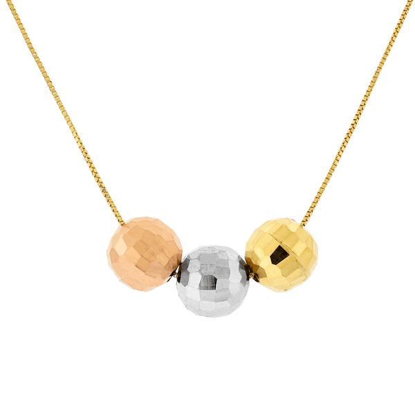 Gargantilha de Ouro 18K Tricolor com 3 Bolas Diamantadas Grande
