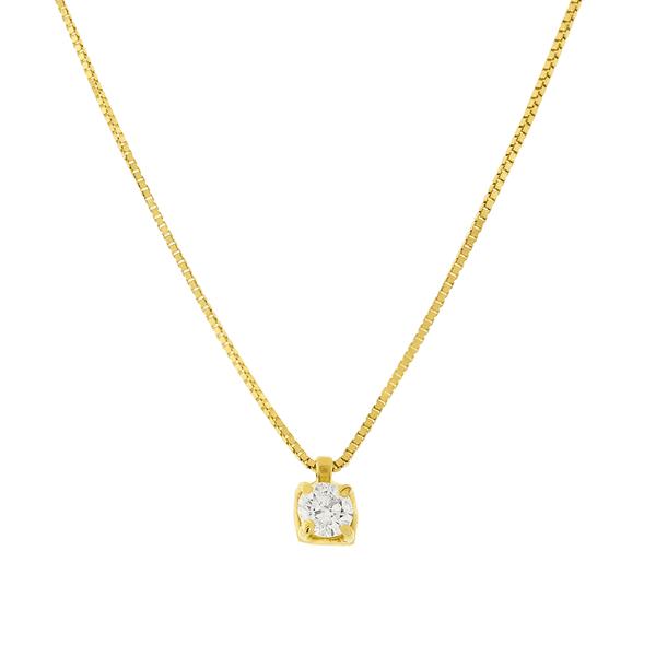 Gargantilha de Ouro 18K Pingente Ponto de Luz de Diamante