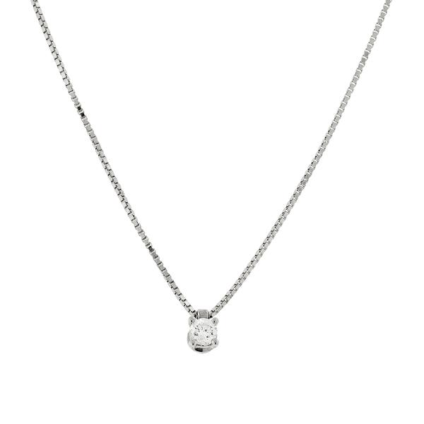 Gargantilha de Ouro Branco 18K Ponto de Luz com Diamante