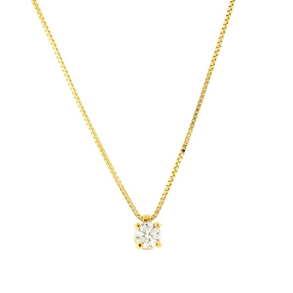 Gargantilha de Ouro Amarelo 18K Ponto de Luz com Diamante