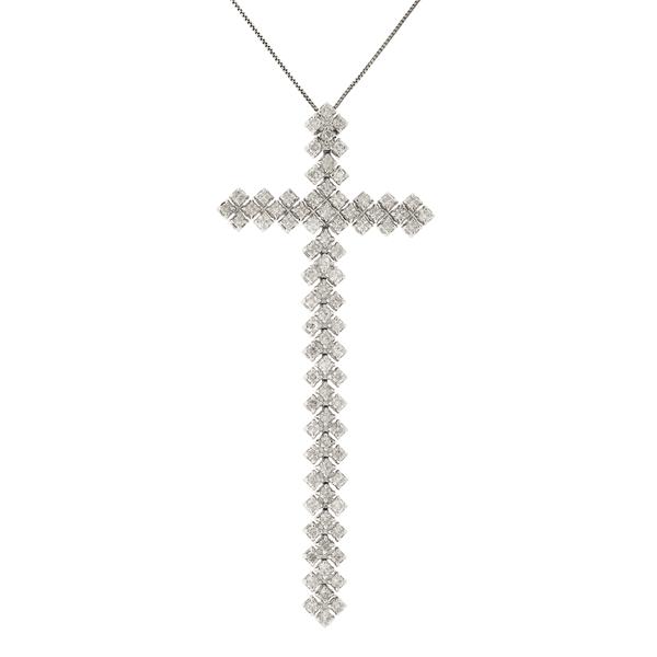 Gargantilha Ouro Branco 18K Cruz Cravejada de Brilhantes