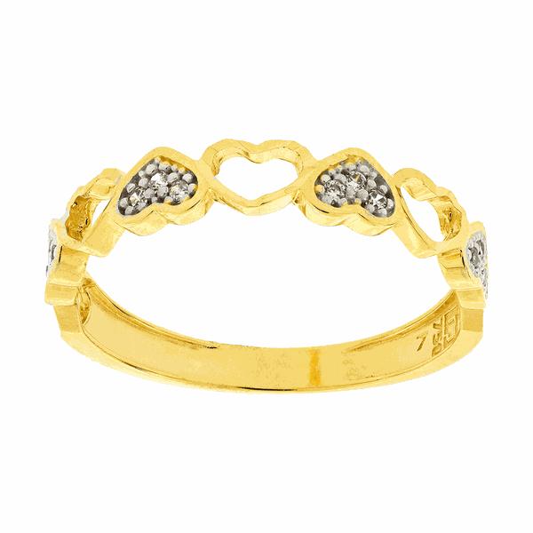Anel de Corações Ouro 18K Bicolor