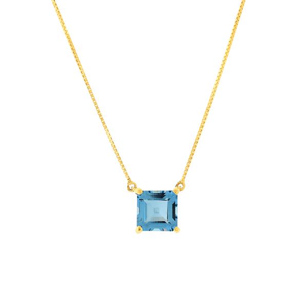 Gargantilha Ouro 18K Pedra de Topázio Azul