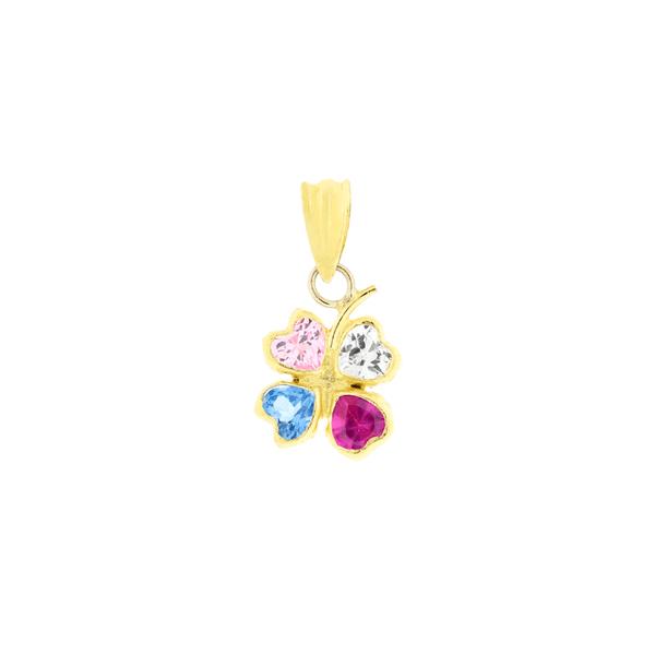 Pingente de Ouro 18K Trevo Zirconias Coloridas