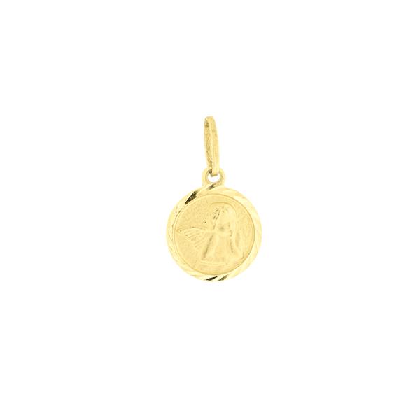 Pingente Medalha de Ouro 18K Anjo Pensador