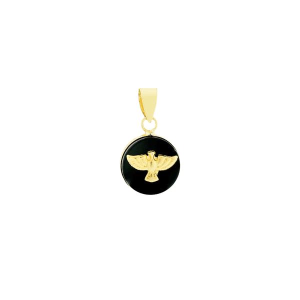 Pingente de Ouro 18K Ônix com Divino Espírito Santo