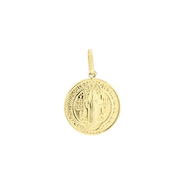 Pingente Medalha de Ouro 18K São Bento em Pé
