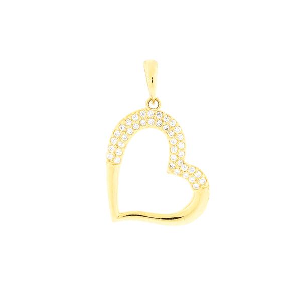 Pingente de Ouro 18K Coração com Zirconias