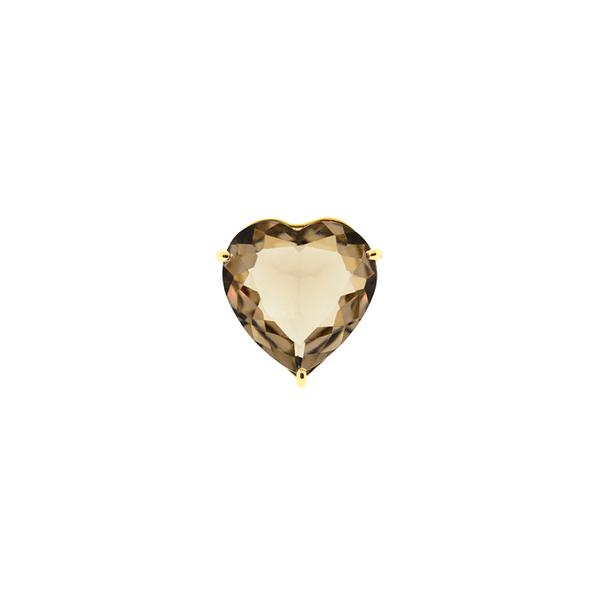 Pingente de Ouro 18K Coração Cristal Fumê