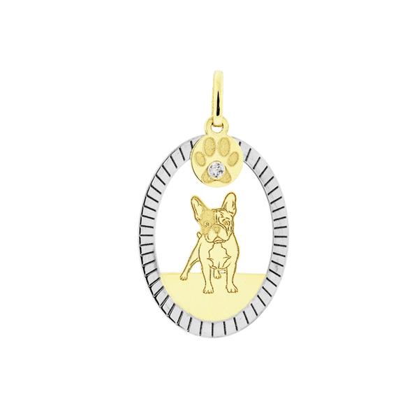 Pingente Cachorro Bulldog Francês Bicolor em Ouro 18K