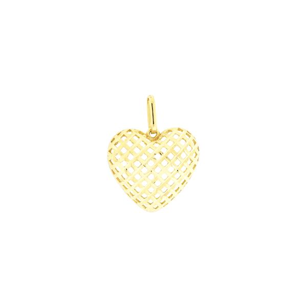 Pingente de Ouro 18K de Coração Vazado e Diamantado