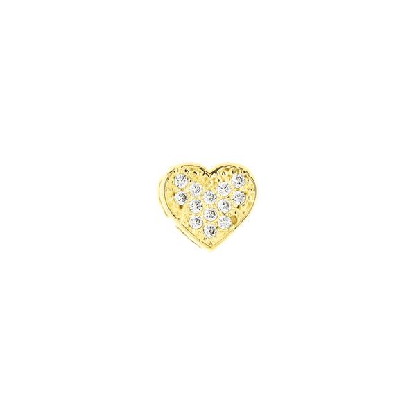 Pingente de Ouro 18K de Coração Pequeno com Zirconias