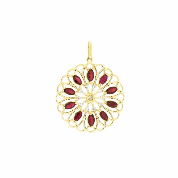 Pingente de Ouro 18K Mandala com Pedras de Rubi Navete