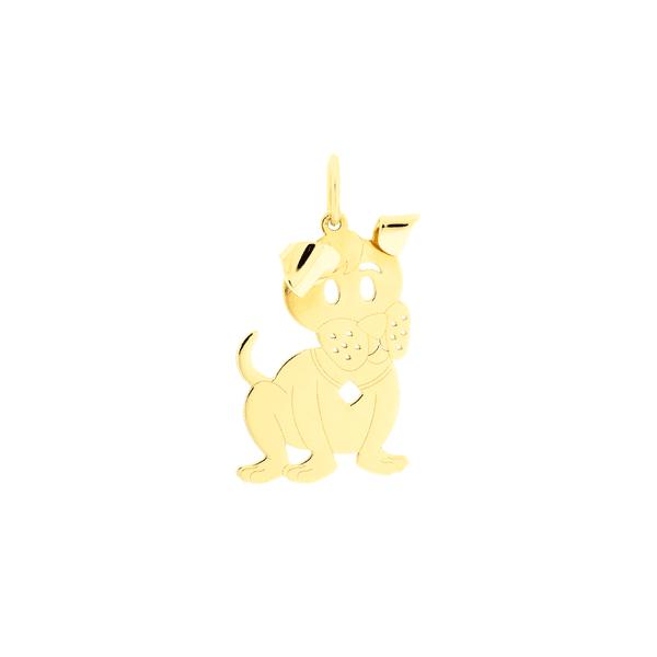 Pingente de Ouro 18K Cachorro com Orelha Dobrada
