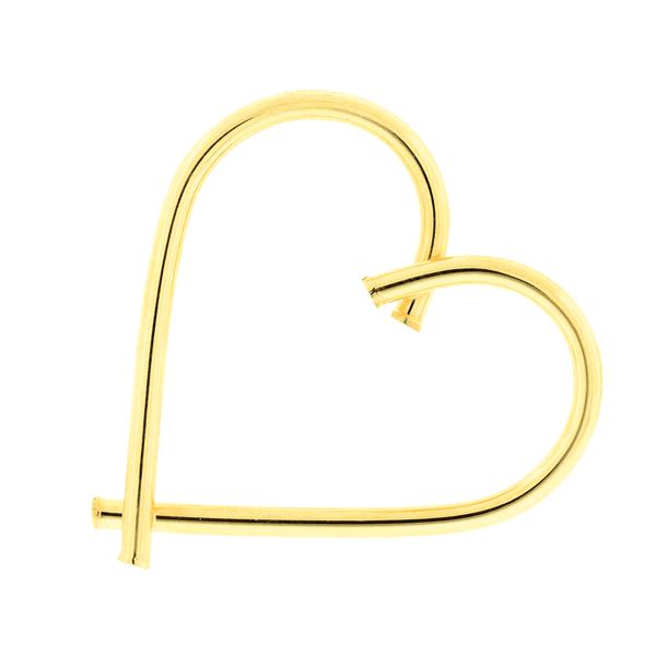 Pingente de Ouro 18K Coração Grande Fio Redondo