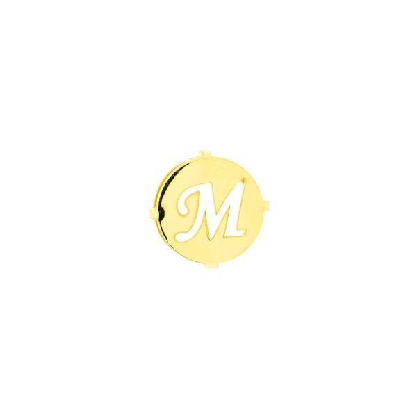 Pingente de Ouro 18K Letra M Redondo