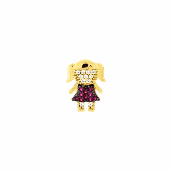 Pingente de Ouro 18K de Menina com Pedras Zirconias Vermelhas